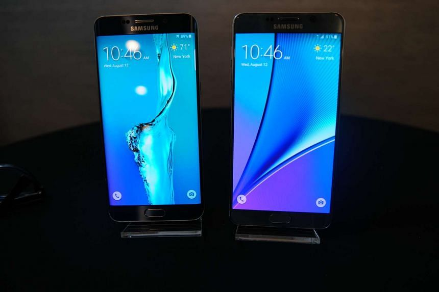The Galaxy Note 5 (right) is powered by the company's own octa-core Exynos 7 processor.