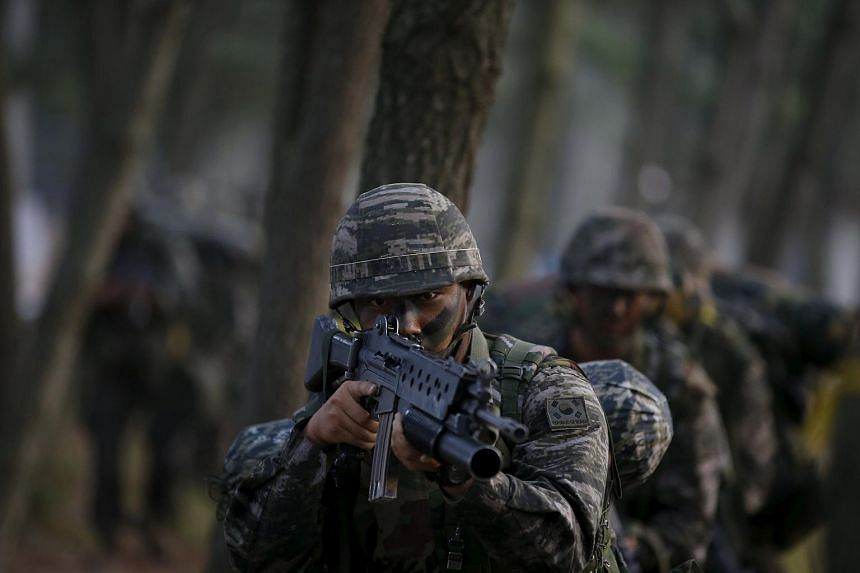 South Korean marines taking part in a drill in Taean on June 29.