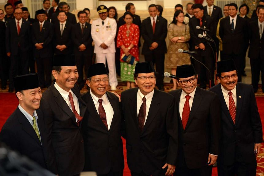 (From left) Thomas T.Lembong,44, Luhut Binsar Panjaitan, 67, Darmin Nasution, 66, Rizal Ramli,60, Pramono Anung, 52 and Sofyan Djalil, 61