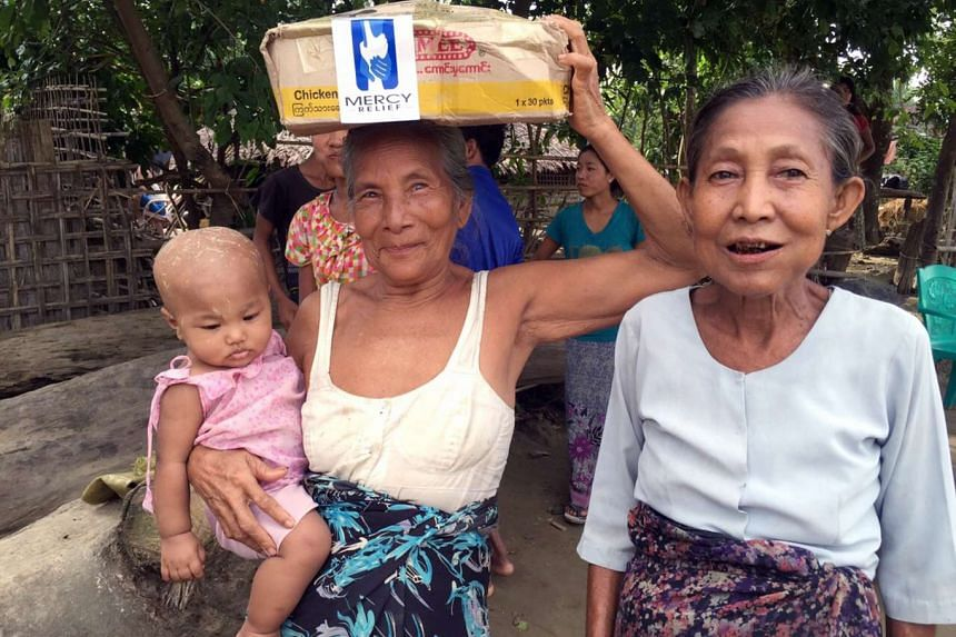 Mercy Relief this week distributed aid to about 350 families in Myanmar's flood-hit Rakhine state. Each got a food pack that included rice, cooking oil, canned fish, salt and noodles - enough to feed a family of six for two weeks, said the humanitari