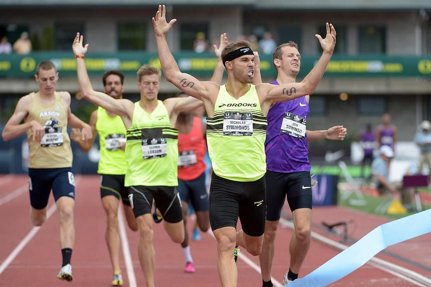 Nick Symmonds celebrates after winning the 800m in 1:44.53 in the 2015 USA Championships at Hayward Field.