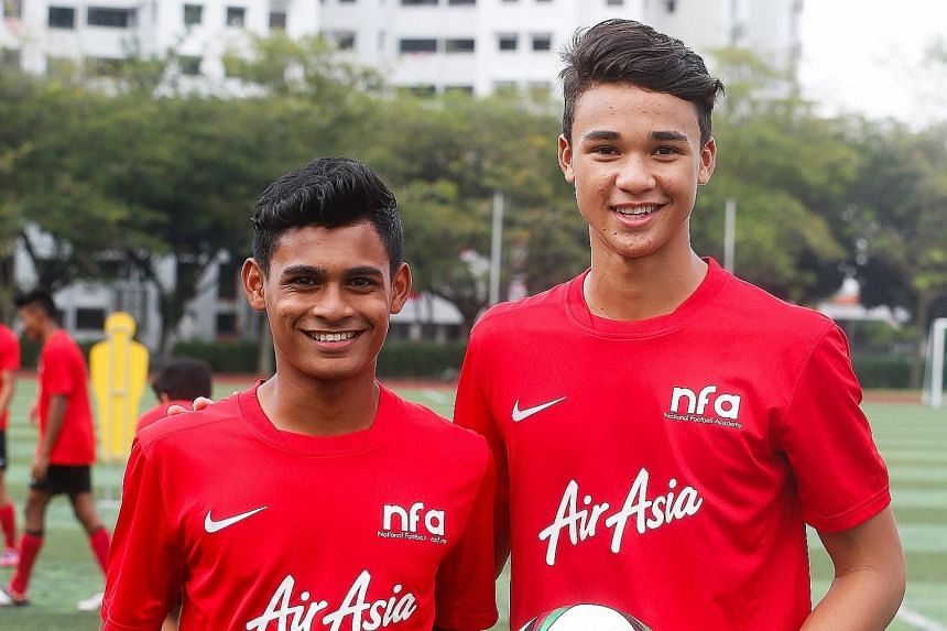 Saifullah Akbar (left) and Ikhsan Fandi will play for the National Football Academy U-16s against the Liverpool U-15s in the Lion City Cup tonight.