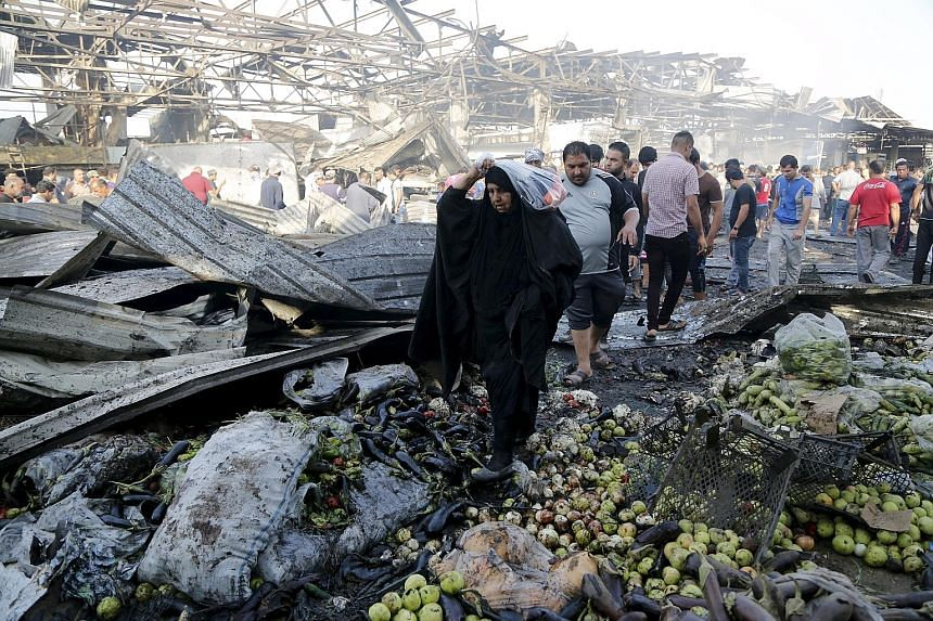 The bomb went off in a wholesale vegetable market in an area of north Baghdad with a Shi'ite majority.