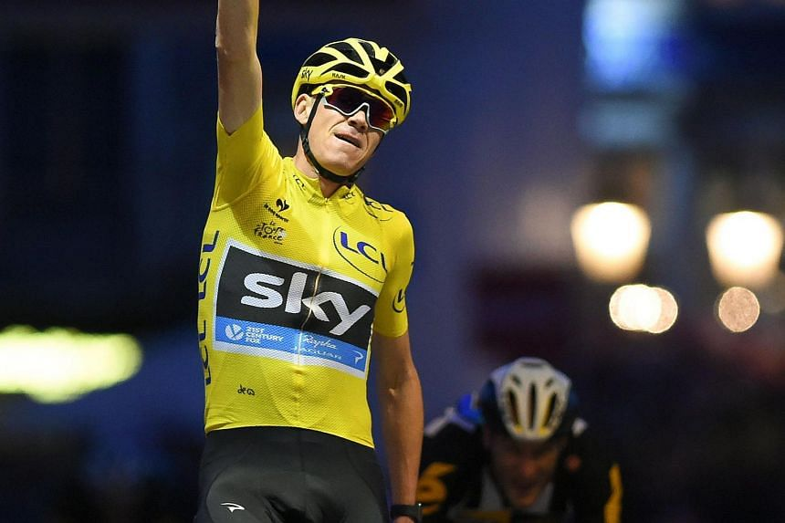 Chris Froome celebrating his win at the Maneblusser Natourcriterium cycling race in Mechelen, Belgium, on Aug 1.