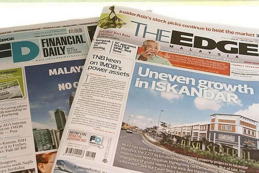 The Edge Financial Daily and The Edge Weekly.
