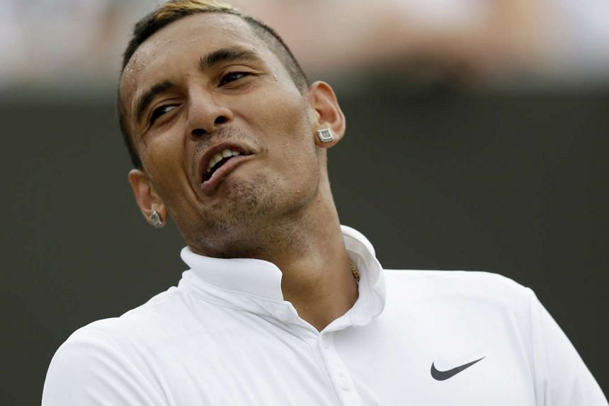 Nick Kyrgios of Australia reacts during a match.