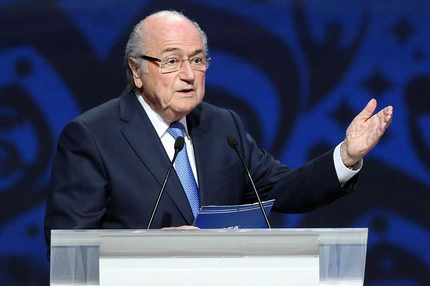 Outgoing Fifa president Sepp Blatter delivering a speech ahead of the preliminary draw for the 2018 World Cup qualifiers.