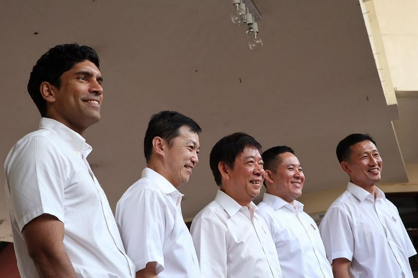 (From left) Mr Vikram Nair, Dr Lim Wee Kiak, National Development Minister Khaw Boon Wan, Mr Amrin Amin, and Mr Ong Ye Kung.