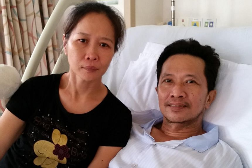 Mr Tan Whee Boon, together with his wife Choong Siet Mei, in hospital.