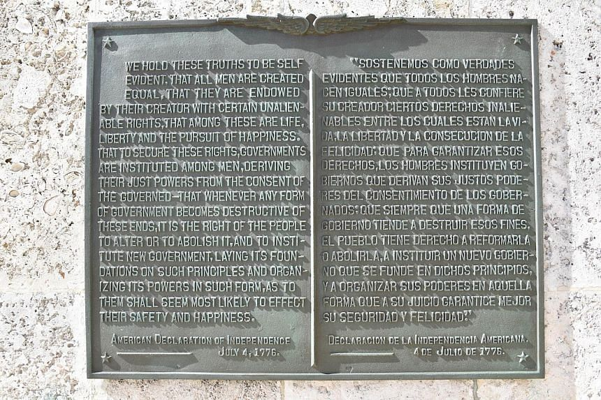 A plaque with the US Declaration of Independence on a wall at the US embassy in Havana, on Aug 7.