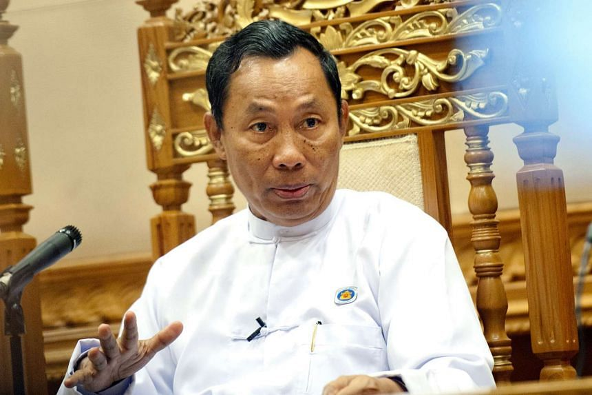 Former USDP leaderShwe Mann speaking to the media during a press conference on Feb 11, 2015.