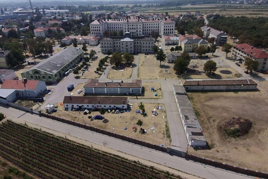 An aerial view of the overcrowded refugee centre in Traiskirchen, Austria on Aug 14, 2015.
