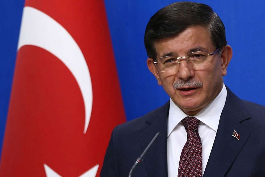 Turkish PM Ahmet Davutoglu at a press conference in Ankara on Aug 13, 2015.
