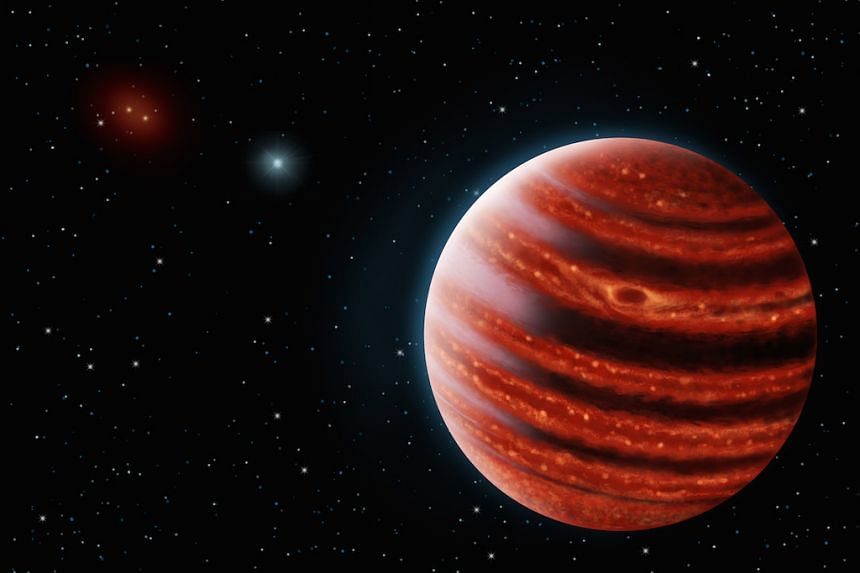 An artistic conception of the Jupiter-like exoplanet, 51 Eri b, seen in the near-infrared light that shows the hot layers deep in its atmosphere glowing through clouds.