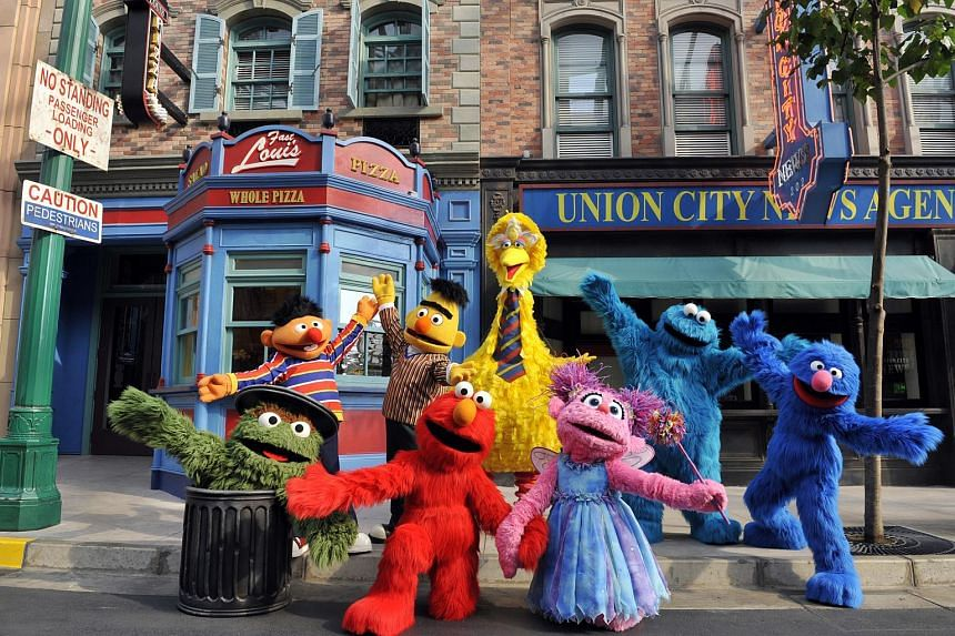 Sesame Street characters at Universal Studios Singapore.
