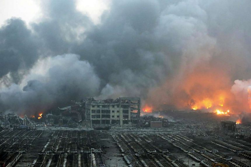 The aftermath of the two explosions – so massive they registered on earthquake measurements and could be seen from space – in the Chinese port city of Tianjin.