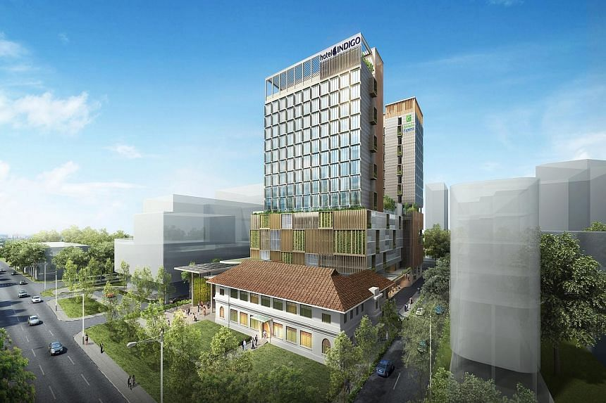 A twin-bed guestroom (top) at Ramada Singapore (above left) in Balestier. On the right is Days Hotel Singapore. An artist's impression of the upcoming Hotel Indigo Singapore Katong and Holiday Inn Express Singapore Katong (both right). A deluxe suite