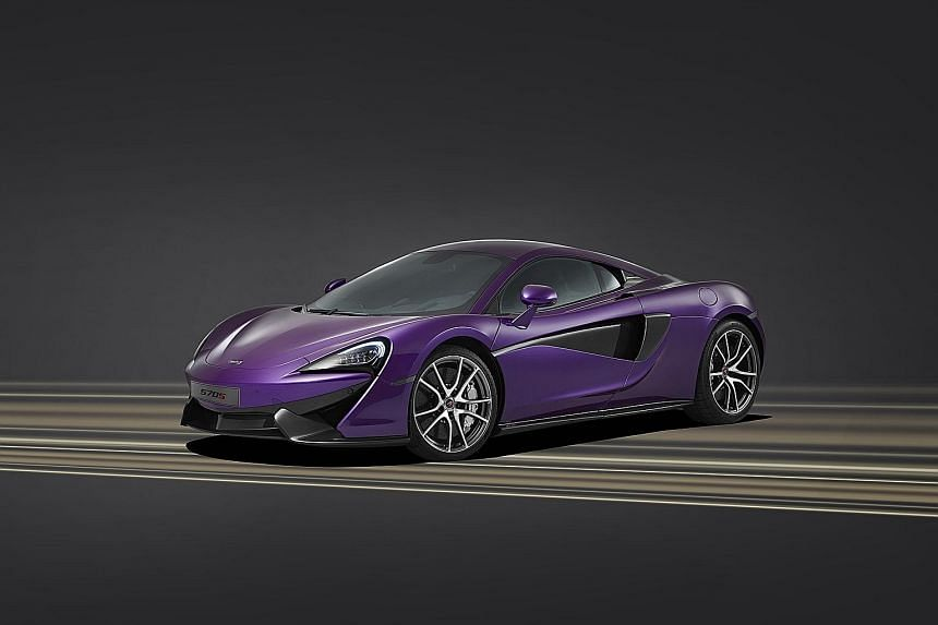 Power in purple: The Dodge Challenger (far left) and Charger (left), and the McLaren 570S Coupe (above).