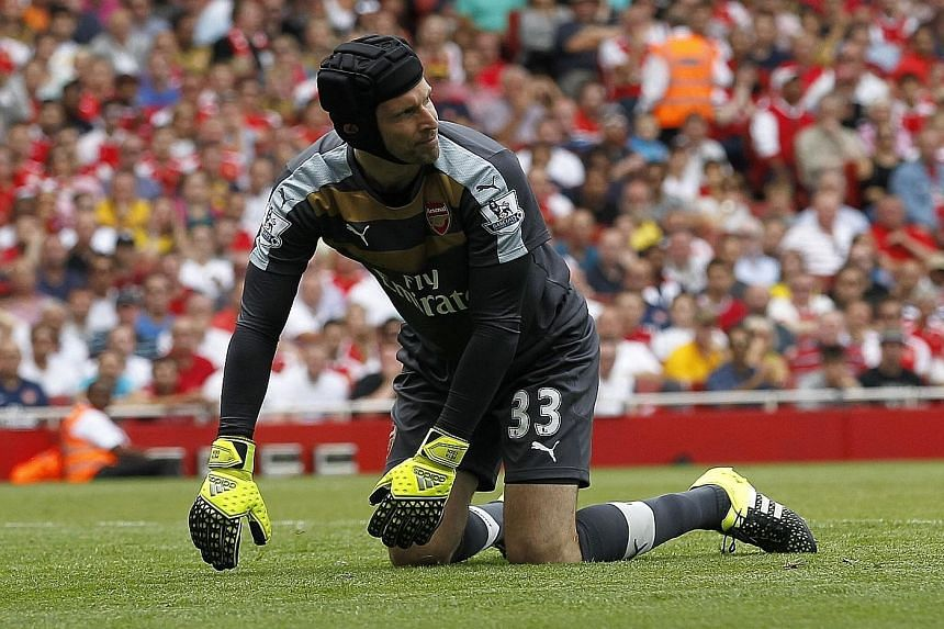 Arsenal goalkeeper Petr Cech during the 0-2 loss to West Ham in their opening-round encounter on Aug 9.
