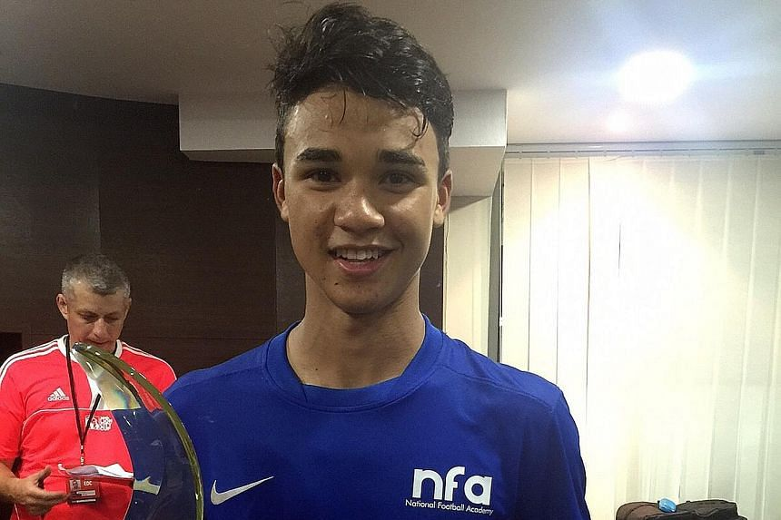 Ikhsan Fandi with his Lion City Cup Man of the Match award last night. He pulled the Singapore U-16s back from 0-3 down against the Liverpool U-15s but the visitors won 5-3 on penalties.