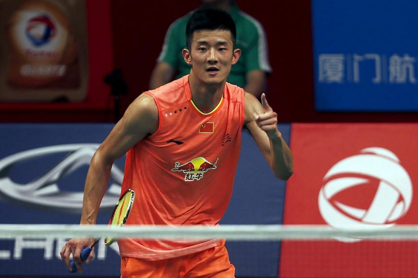 Chen Long reacts after winning against Kento Momota in their men's semi-final singles badminton match at the BWF World Championship in Jakarta on Aug 15, 2015.