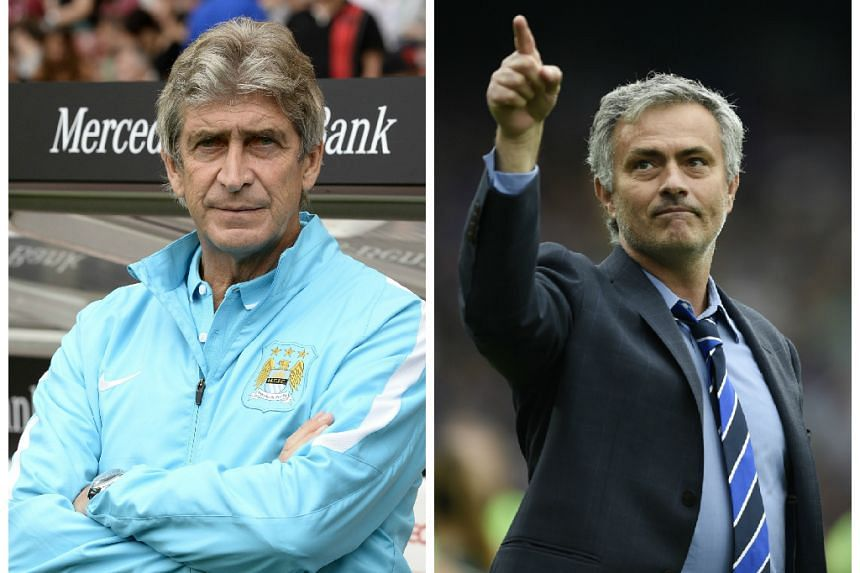 Pellegrini (left) and Chelsea boss Mourinho have a frosty relationship.