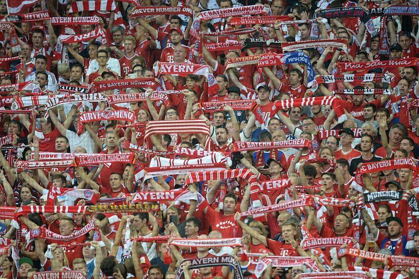 Bayern Munich fans at the Allianz Arena in Munich on Aug 14.