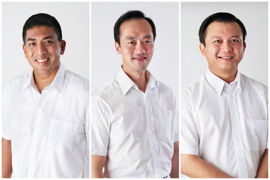 (From left) PAP introduced three new candidates on Saturday (Aug 15): Mr Darryl David and Dr Koh Poh Koon for AMK GRC and Mr Lee Hong Chuang for Hougang SMC.