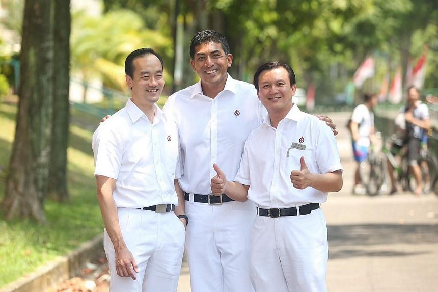 From left: Dr Koh Poh Koon and Mr Darryl David will be contesting in the Ang Mo Kio GRC and Mr Lee Hong Chuang will be contesting in the Hougang SMC.