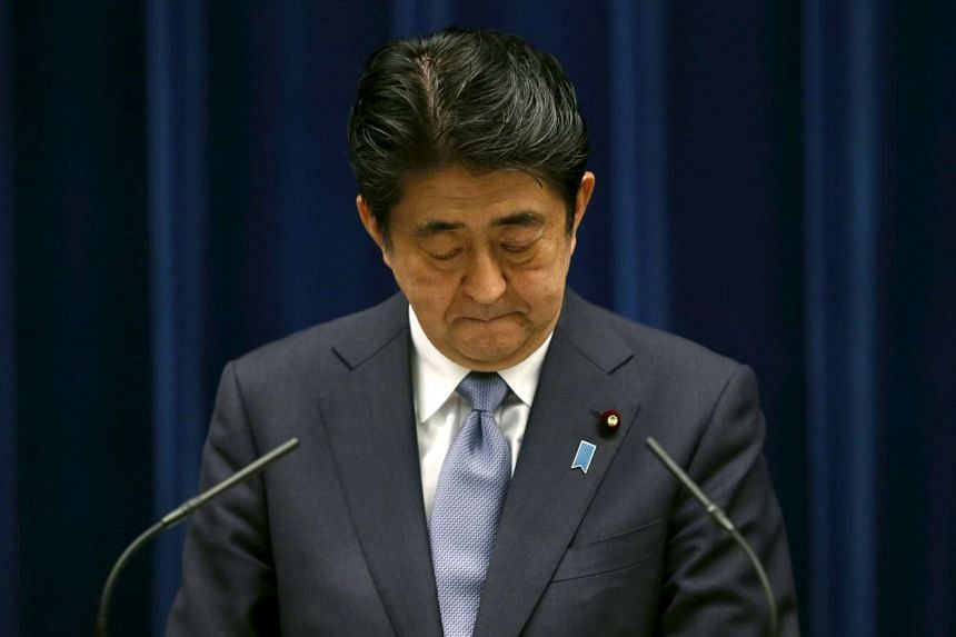 Japan's Prime Minister Shinzo Abe delivering his a statement marking the 70th anniversary of World War Two's end, on Aug 14.