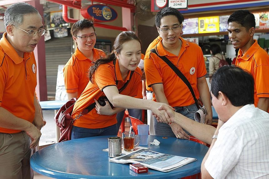 The NSP, including the party's youthful star-catch Ms Nicole Seah, campaigning during the 2011 elections at a Marine Parade coffee shop.
