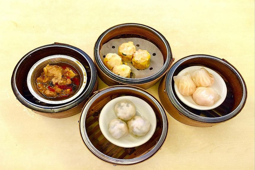 Chain stall Lai Kee's dimsum includes (clockwise from far left) pork ribs, siew mai, har kow and chive dumplings.