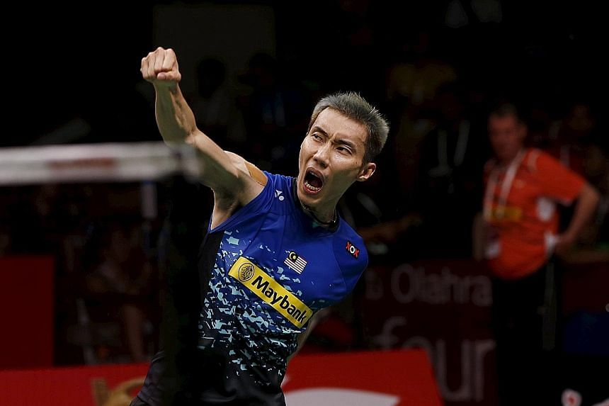 Malaysia's Lee Chong Wei celebrating after beating Dane Jan Jorgensen in the World Championships semi-finals. The former world No. 1, now ranked 44th after an eight-month doping ban, is gunning for his first world title after three consecutive final