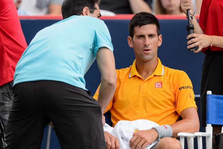 Djokovic (above) complained to the umpire about the smell of marijuana smoke.