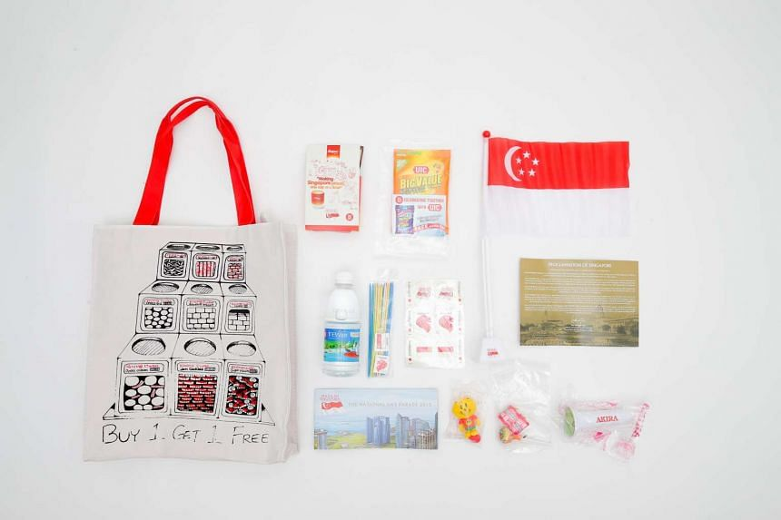 The standard items in the SG50 funpack. The items are instant cereal, detergent, miniature flag, newater, two nostalgic games, replica of Proclamation of Singapore, NDP poster of programmes during Jubilee weekend, Singa Lion figurine, two nostalgic s