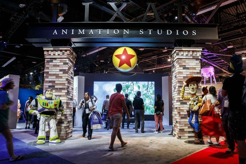 The signage for Pixar Animation Studios is displayed with characters from the Toy Story movies during the D23 Expo 2015 in Anaheim, California, US, on Aug 14, 2015.