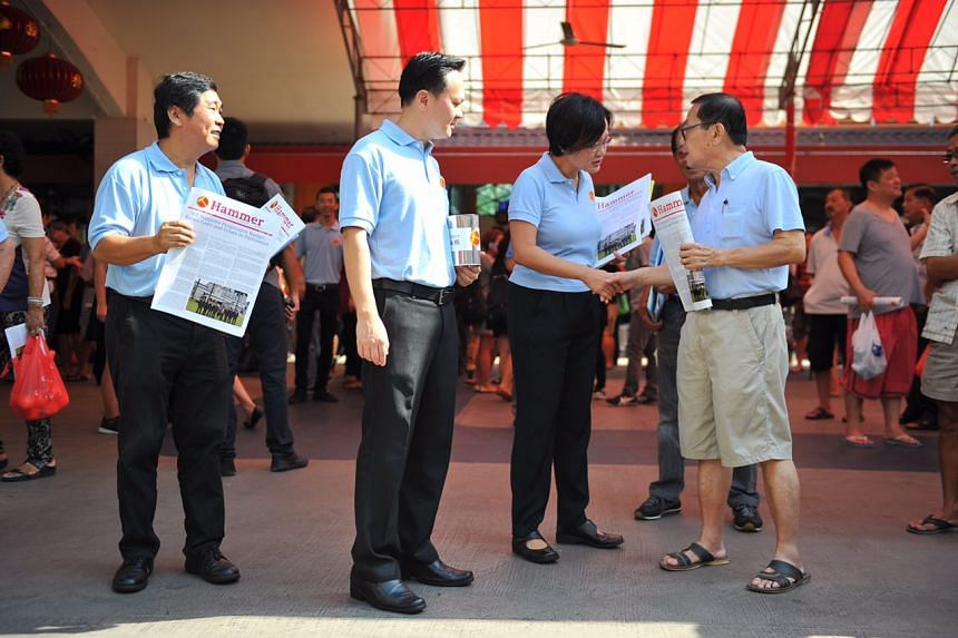 Workers' Party's chairman Sylvia Lim at Chong Pang Market and Food Centre on Sunday (Aug 16).