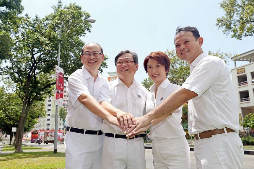 The PAP's Chua Chu Kang team (from left) Yee Chia Hsing, Gan Kim Yong, Low Yen Ling and Zaqy Mohamad.
