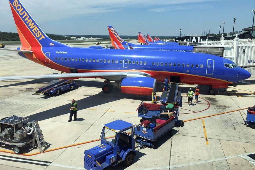 Southwest Airlines planes sit at their gates at Baltimore-Washington International Airport as flights are delayed due to technical issues at a Federal Aviation Administration centre.