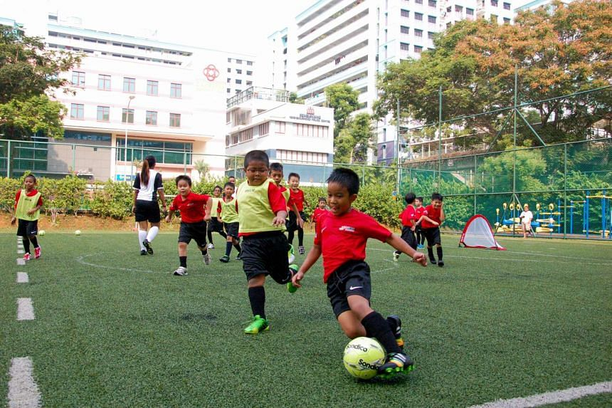 Pupils taking part in the Cubs Grassroots Football Programme launched by the Football Association of Singapore (FAS) at Sembwang Primary School on April 5.