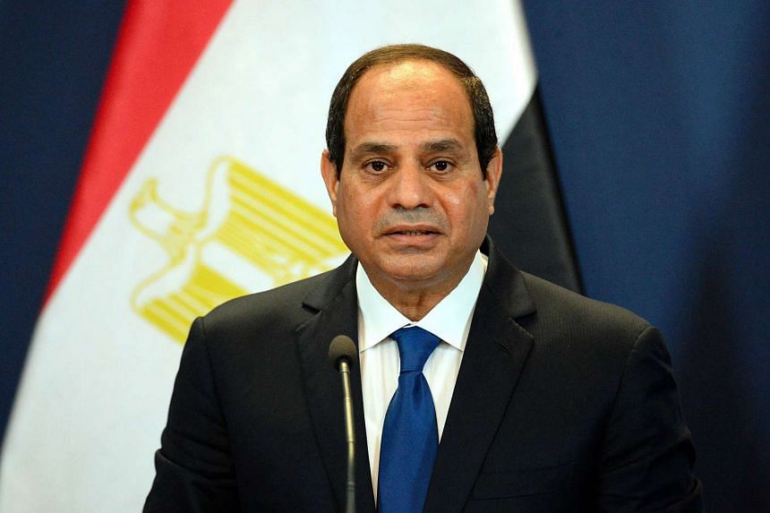 """Egypt's President Abdel Fattah al-Sisi speaking at a joint press conference in Hungary on June 5. He has recently released a new anti-terrorism law and imposed hefty fines for """"false"""" media reports."""