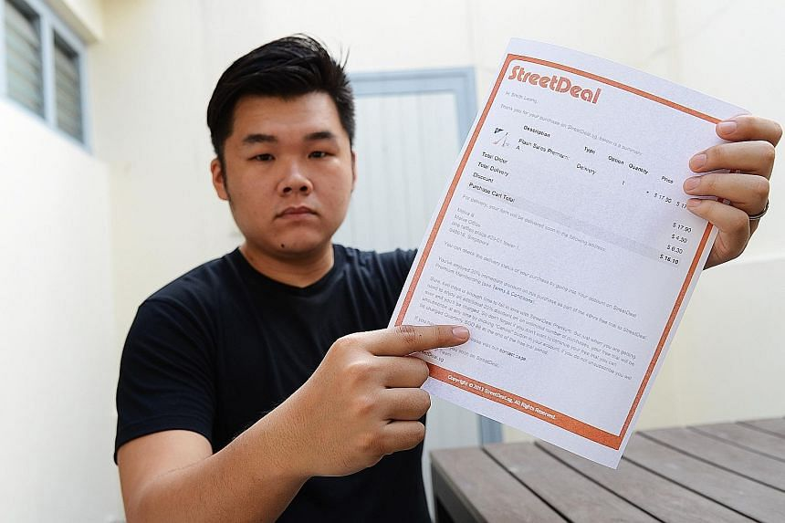 Mr Smith Leong received a separate $88 charge for a pair of drumsticks he bought for $16.40 on StreetDeal.
