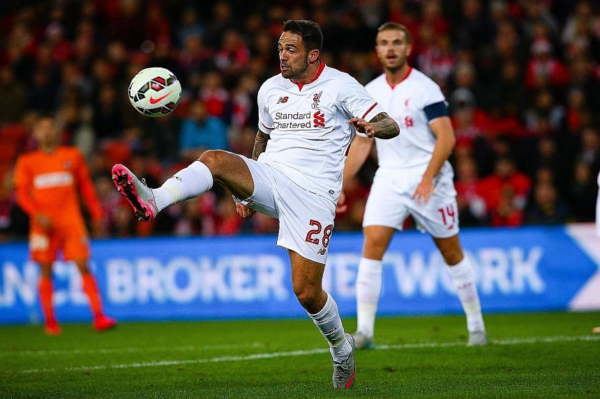 Danny Ings of Liverpool controls the ball during the friendly football match between English Premier League side Liverpool and A-League side Brisbane Roar.