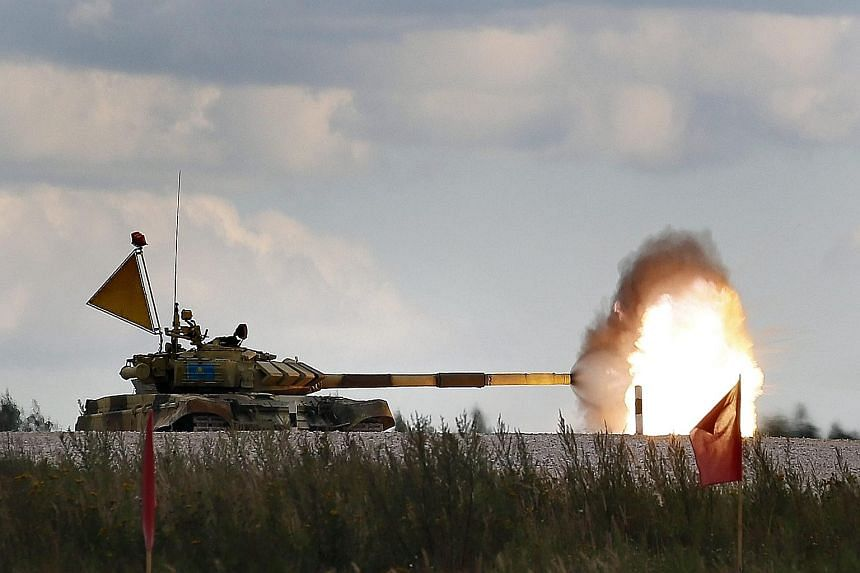 The T-72 B tank of the Serbian team competing at the Tank Biathlon World Championship 2015, an annual test of racing, shooting and driving prowess for armed forces, in Alabino, outside Moscow, Russia. The contest involving 39 tank crews from 13 count