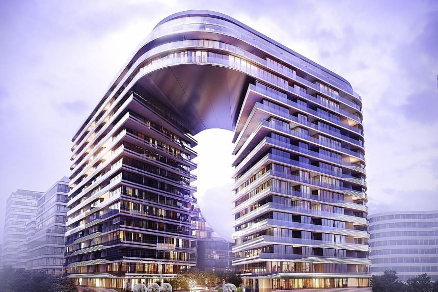 Designed by Koichi Takada Architects, the 20-storey Infinity (above) features a unique looped shape and a 1,180 sq m open-air garden plaza, which will be surrounded by retail outlets, restaurants and cafes.