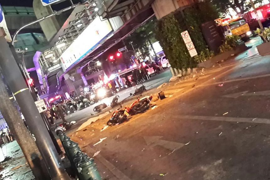 Nirmal Ghosh, our Indochina Bureau Chief  tweeted this picture from the scene captioned 'Police say a bomb. Rush hour downtown Bangkok. Several dead.