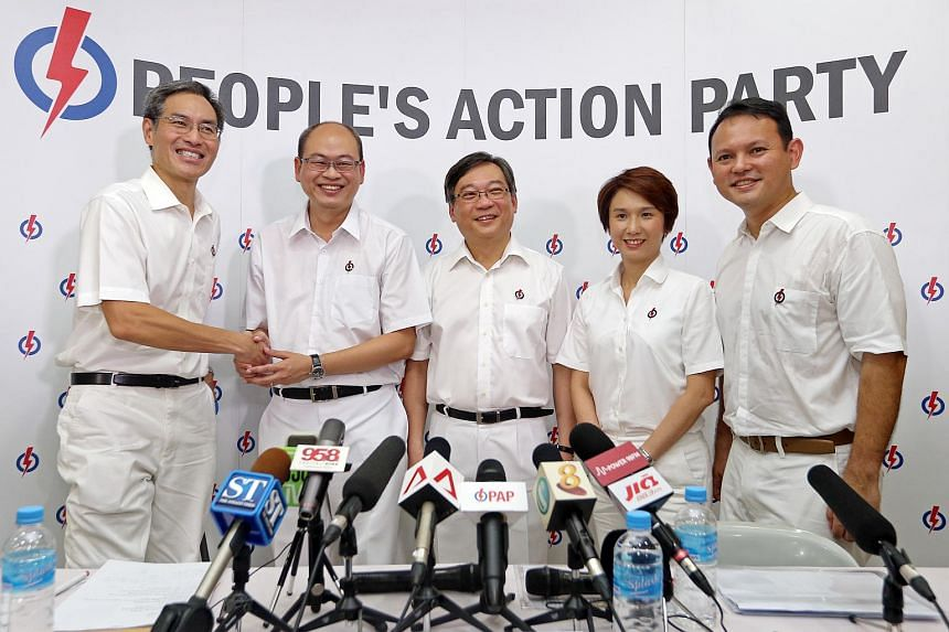 PAP unveils it candidates for Chua Chu Kang GRC and at the PAP Nanyang Branch on Aug 16, 2015. (from left) Alvin Yeo who will be stepping down, new candidate Yee Chia Hsing, Gan Kim Yong, Low Yen Ling and Zaqy Mohamad.
