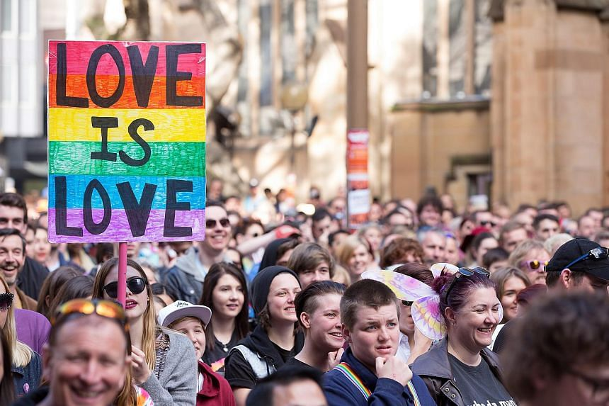 Activists march in the street during a rally in support of Same-Sex Marriage in Sydney, Australia, on Aug 9, 2015.