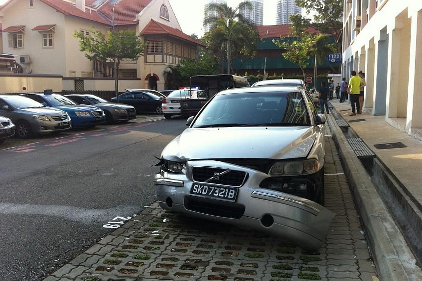 The aftermath of the accident at a McNair Road carpark on Monday morning.