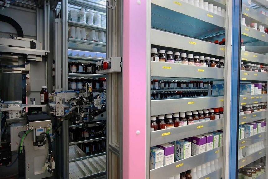 Shelves full of medication at KK Women's and Children's Hospital.  Health Minister Gan Kim Yong said it is better to cap claims than hospital bills in a written reply in Parliament on Aug 17.